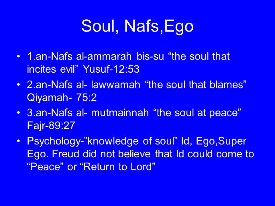 Soul, Nafs,Ego 1.an-Nafs al-ammarah bis-su the soul that incites evil Yusuf-12:53. 2.an-Nafs al- lawwamah the soul that blames Qiyamah- 75:2.