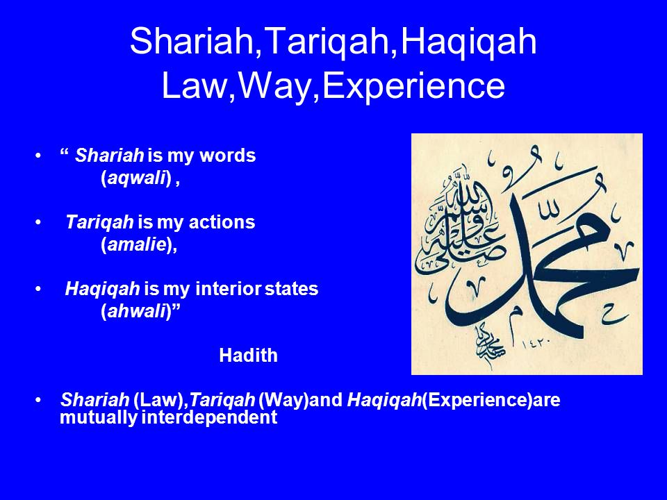 Shariah,Tariqah,Haqiqah Law,Way,Experience