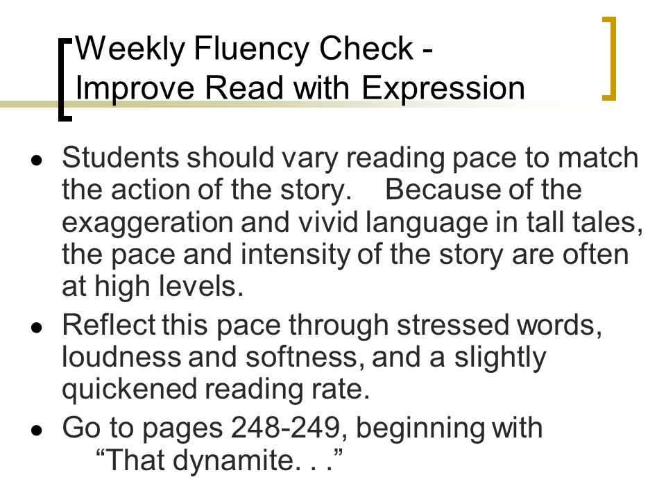 Weekly Fluency Check - Improve Read with Expression