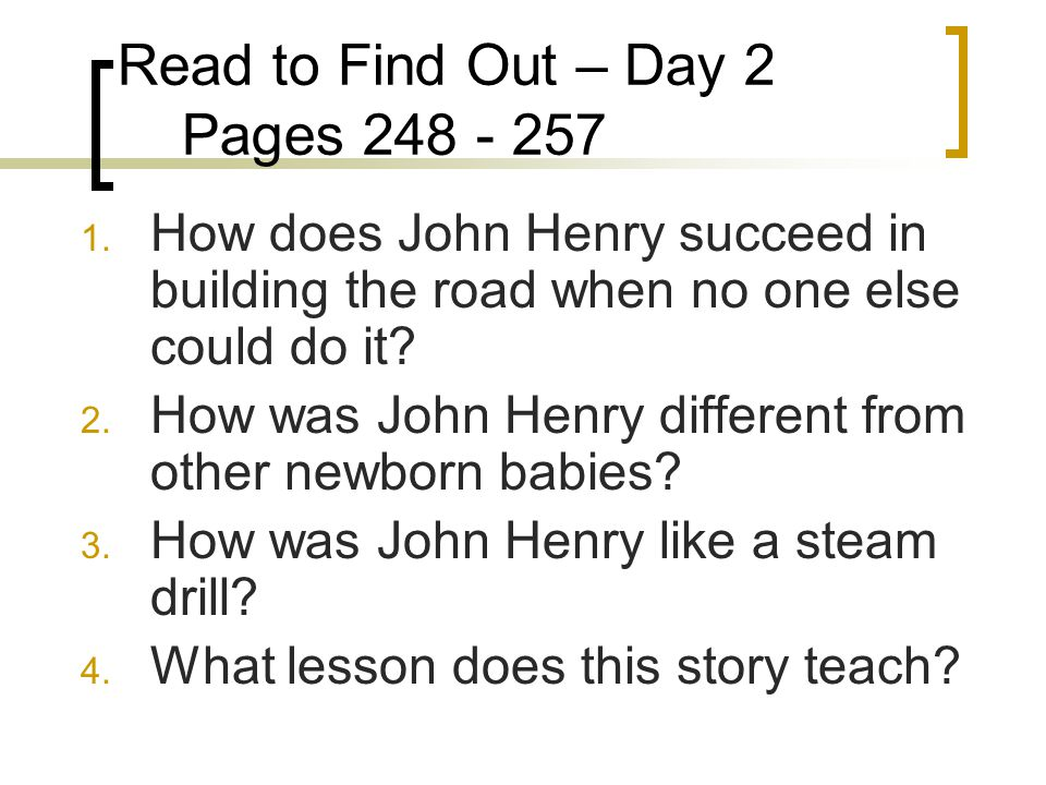 Read to Find Out – Day 2 Pages 248 - 257