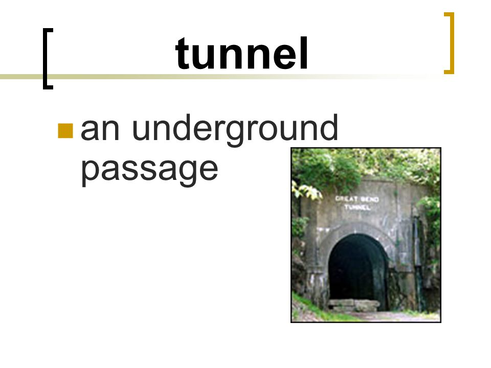tunnel an underground passage