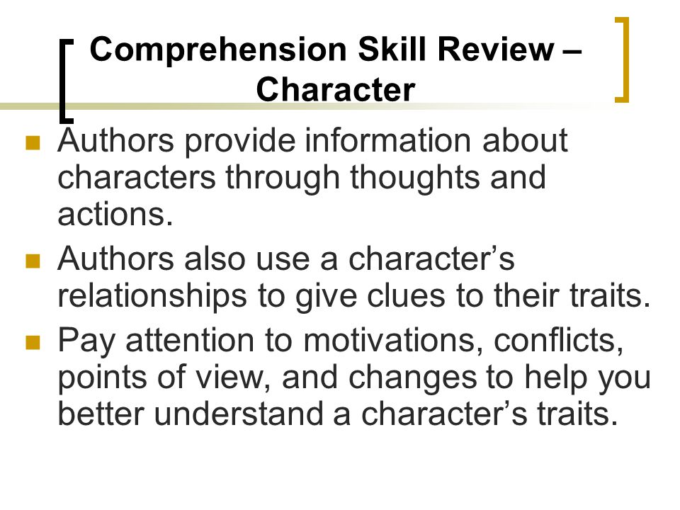 Comprehension Skill Review – Character