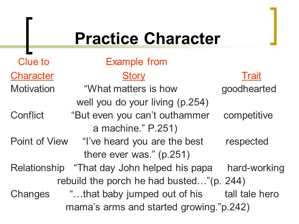 Practice Character Clue to Example from Character Story Trait
