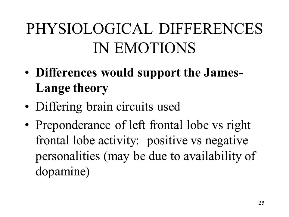 PHYSIOLOGICAL DIFFERENCES IN EMOTIONS