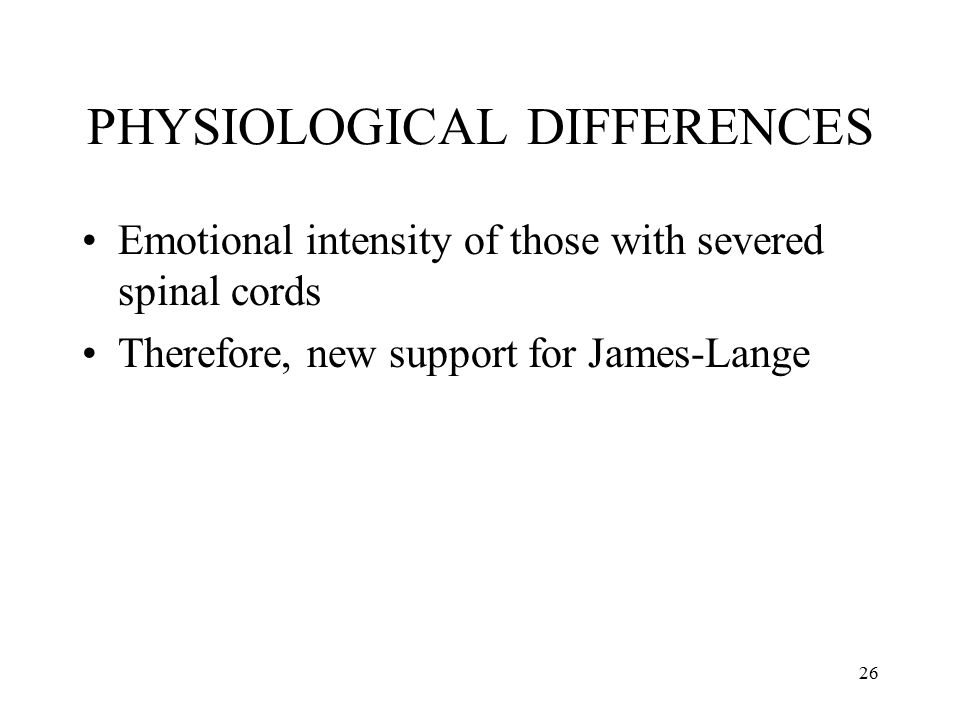PHYSIOLOGICAL DIFFERENCES
