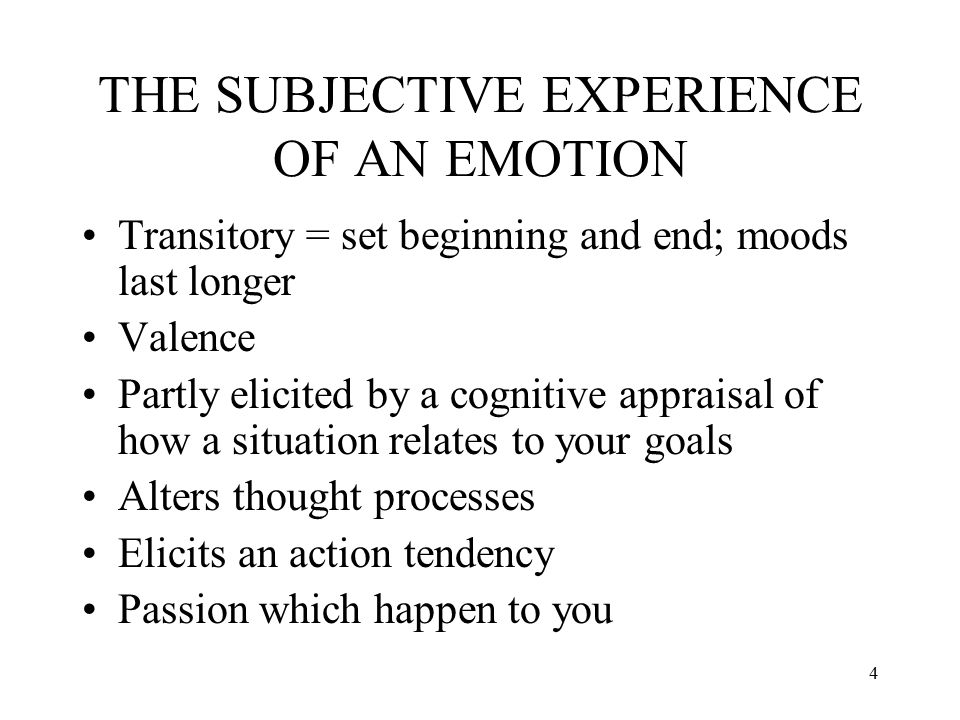 THE SUBJECTIVE EXPERIENCE OF AN EMOTION