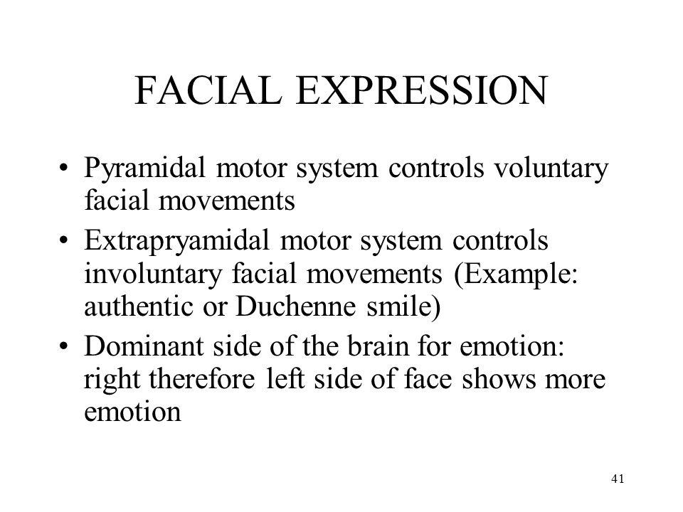 FACIAL EXPRESSION Pyramidal motor system controls voluntary facial movements.