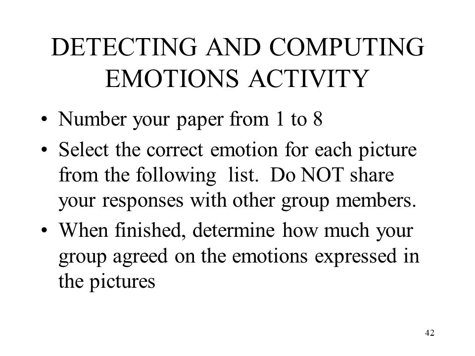 DETECTING AND COMPUTING EMOTIONS ACTIVITY