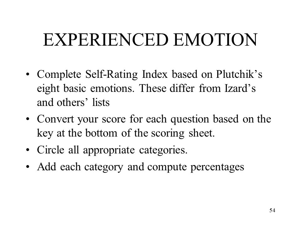 EXPERIENCED EMOTION Complete Self-Rating Index based on Plutchik's eight basic emotions. These differ from Izard's and others' lists.