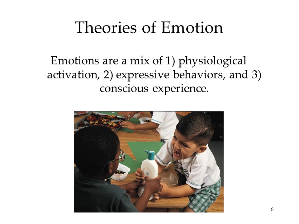 Theories of Emotion Emotions are a mix of 1) physiological activation, 2) expressive behaviors, and 3) conscious experience.