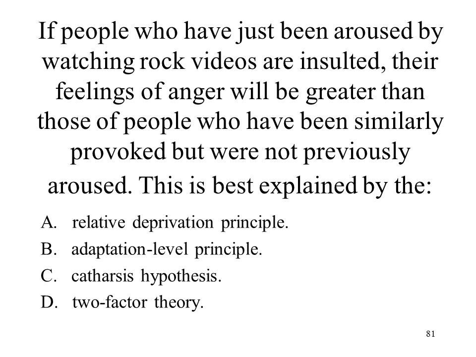 If people who have just been aroused by watching rock videos are insulted, their feelings of anger will be greater than those of people who have been similarly provoked but were not previously aroused. This is best explained by the: