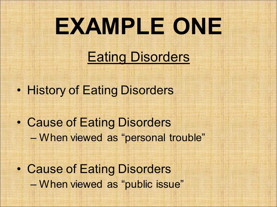 EXAMPLE ONE Eating Disorders History of Eating Disorders