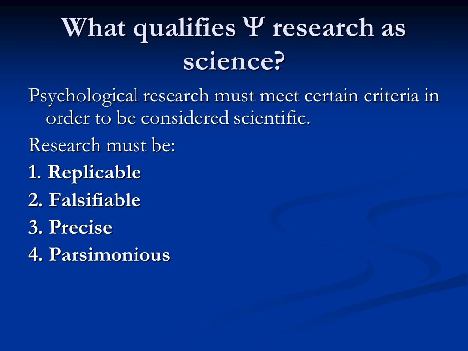 What qualifies  research as science