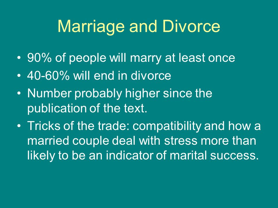 Marriage and Divorce 90% of people will marry at least once