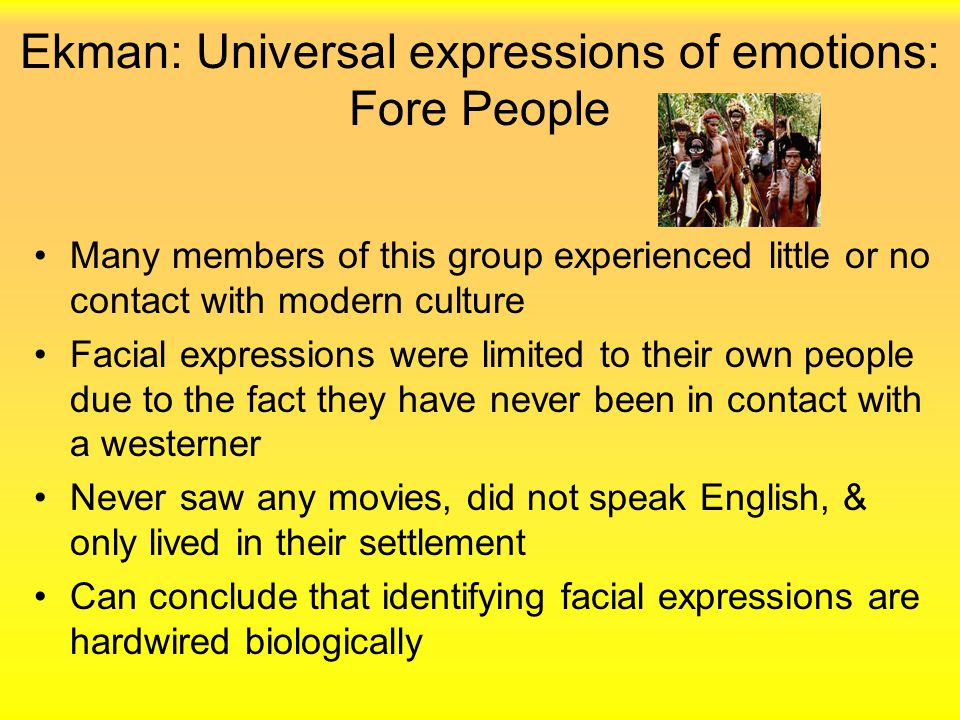 Ekman: Universal expressions of emotions: Fore People