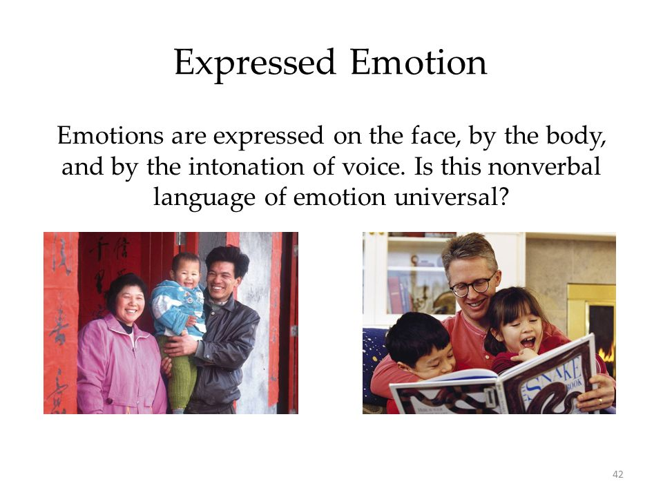 Expressed Emotion Emotions are expressed on the face, by the body, and by the intonation of voice. Is this nonverbal language of emotion universal