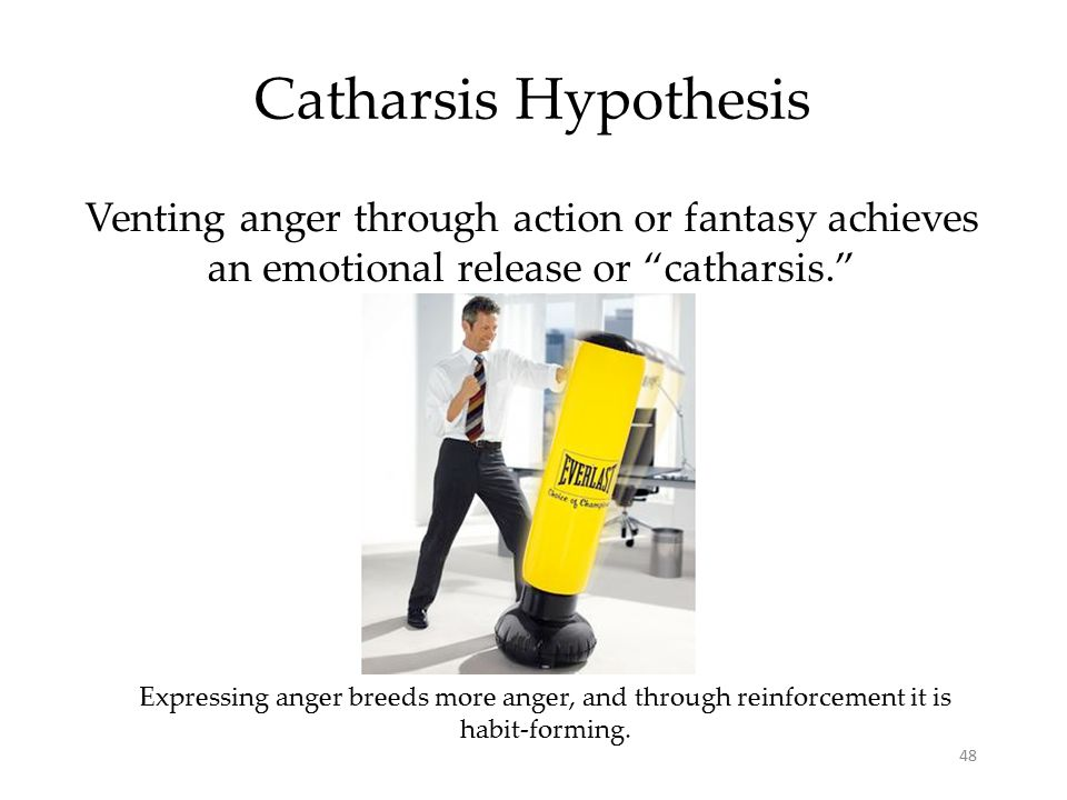 Catharsis Hypothesis Venting anger through action or fantasy achieves an emotional release or catharsis.