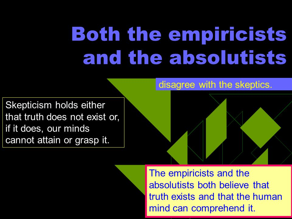 Both the empiricists and the absolutists
