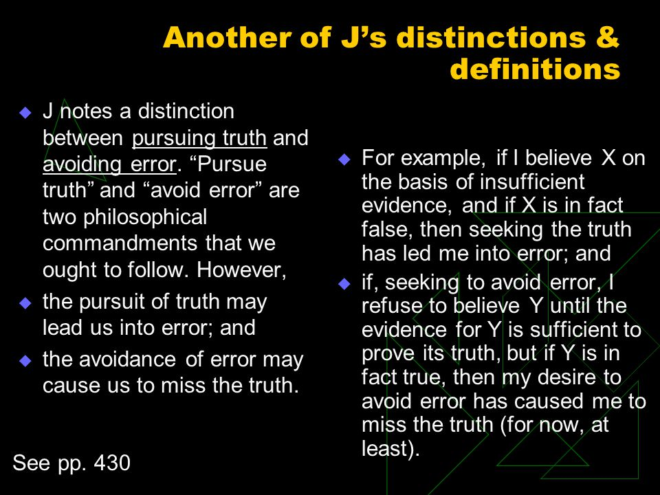 Another of J's distinctions & definitions