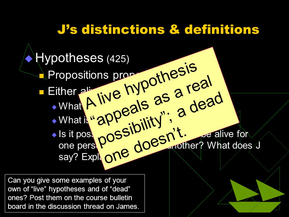 J's distinctions & definitions