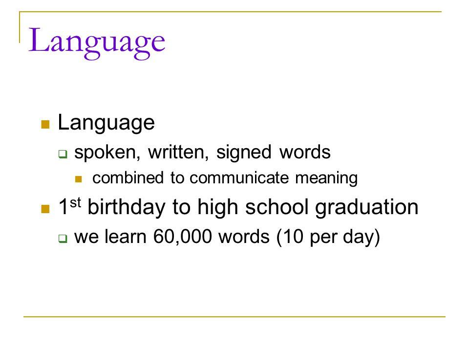 Language Language 1st birthday to high school graduation