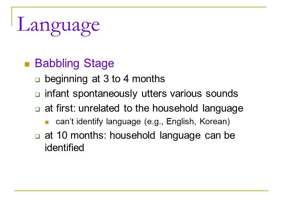 Language Babbling Stage beginning at 3 to 4 months