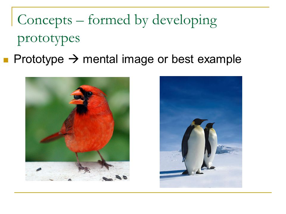 Concepts – formed by developing prototypes