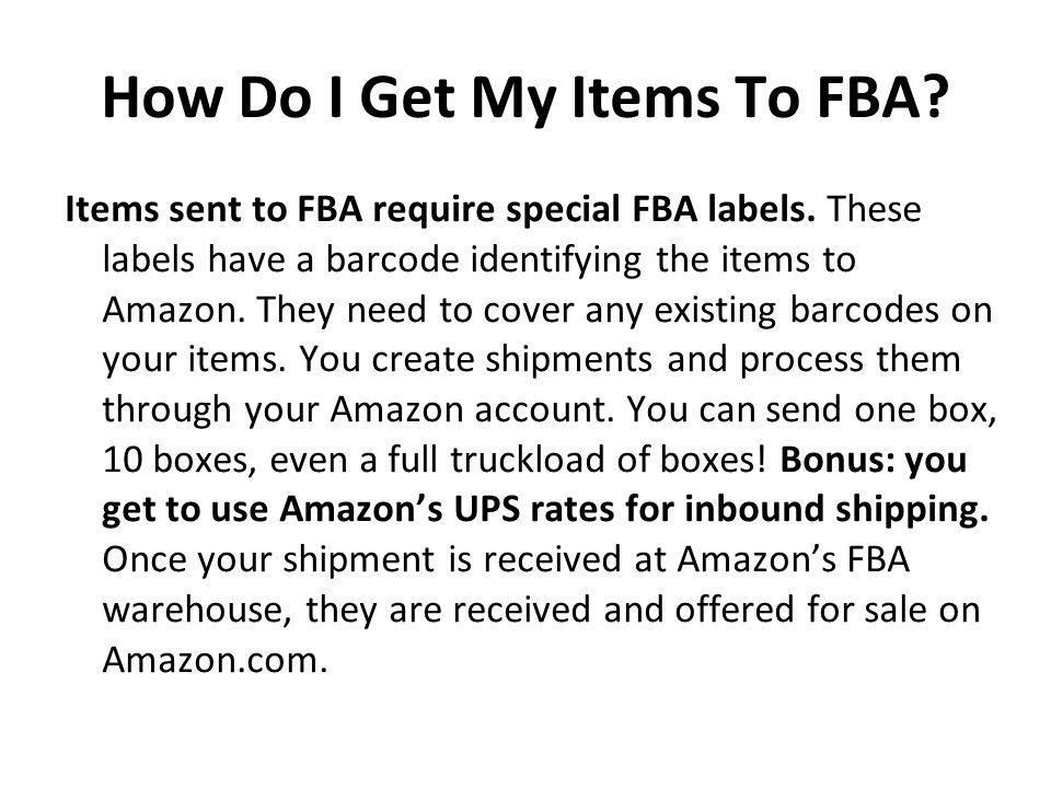 How Do I Get My Items To FBA