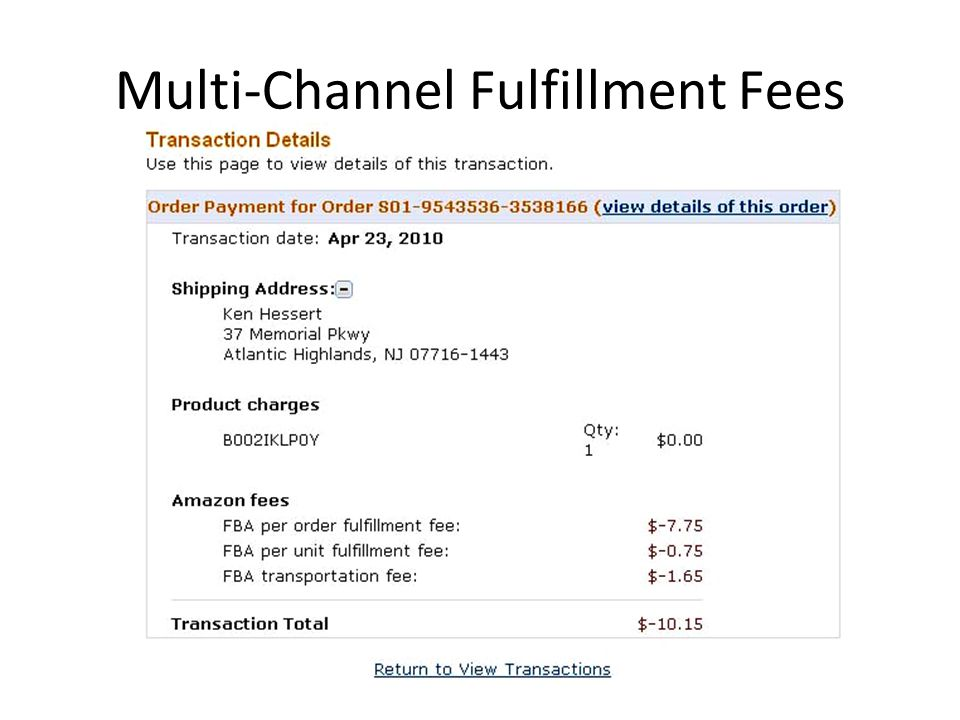 Multi-Channel Fulfillment Fees