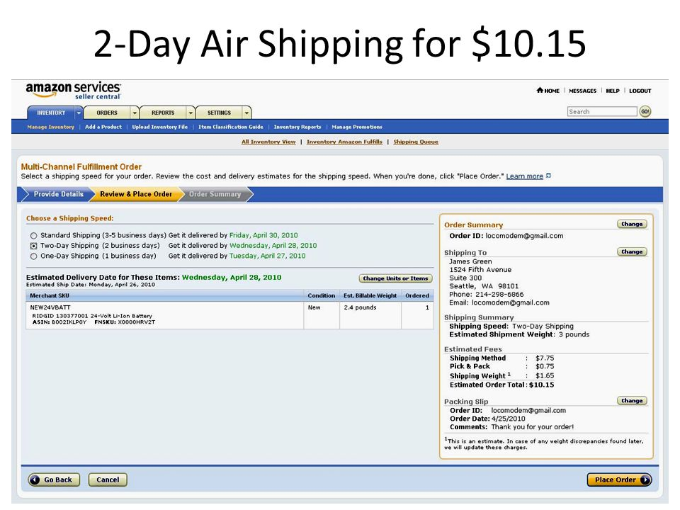 2-Day Air Shipping for $10.15