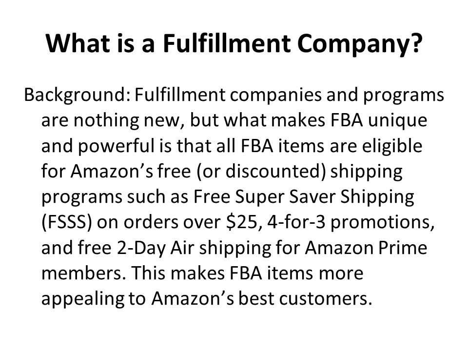 What is a Fulfillment Company