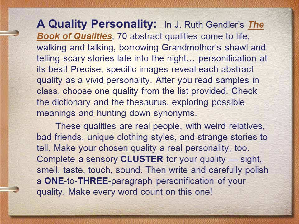 A Quality Personality: In J