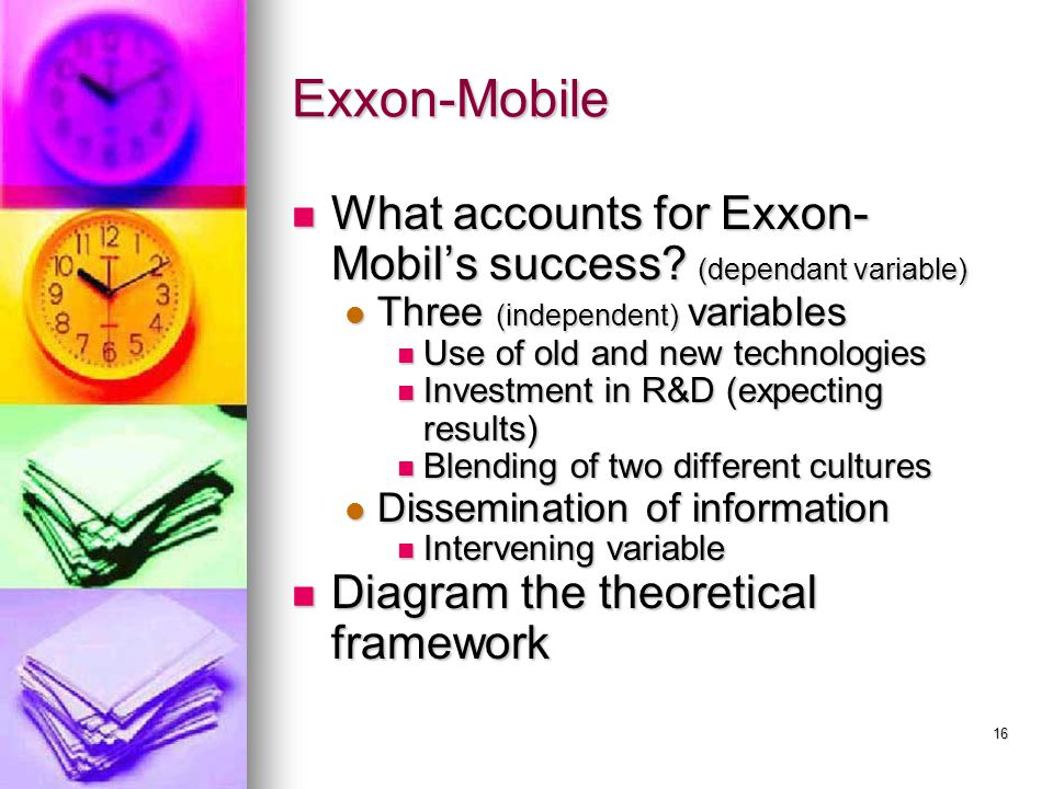 Exxon-Mobile What accounts for Exxon-Mobil's success (dependant variable) Three (independent) variables.