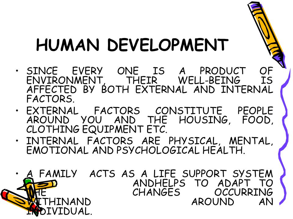 HUMAN DEVELOPMENT SINCE EVERY ONE IS A PRODUCT OF ENVIRONMENT, THEIR WELL-BEING IS AFFECTED BY BOTH EXTERNAL AND INTERNAL FACTORS.