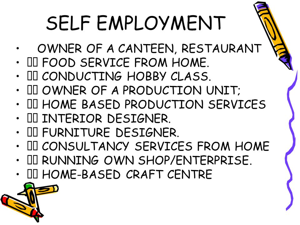 SELF EMPLOYMENT OWNER OF A CANTEEN, RESTAURANT