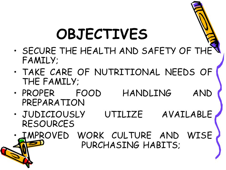 OBJECTIVES SECURE THE HEALTH AND SAFETY OF THE FAMILY;