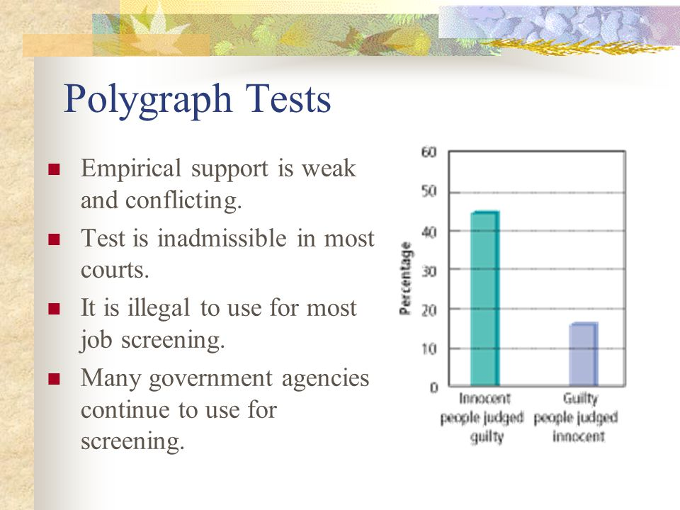 Polygraph Tests Empirical support is weak and conflicting.