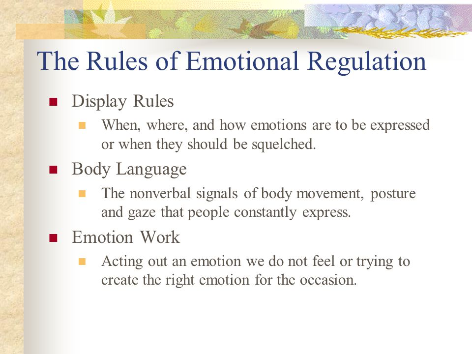 The Rules of Emotional Regulation