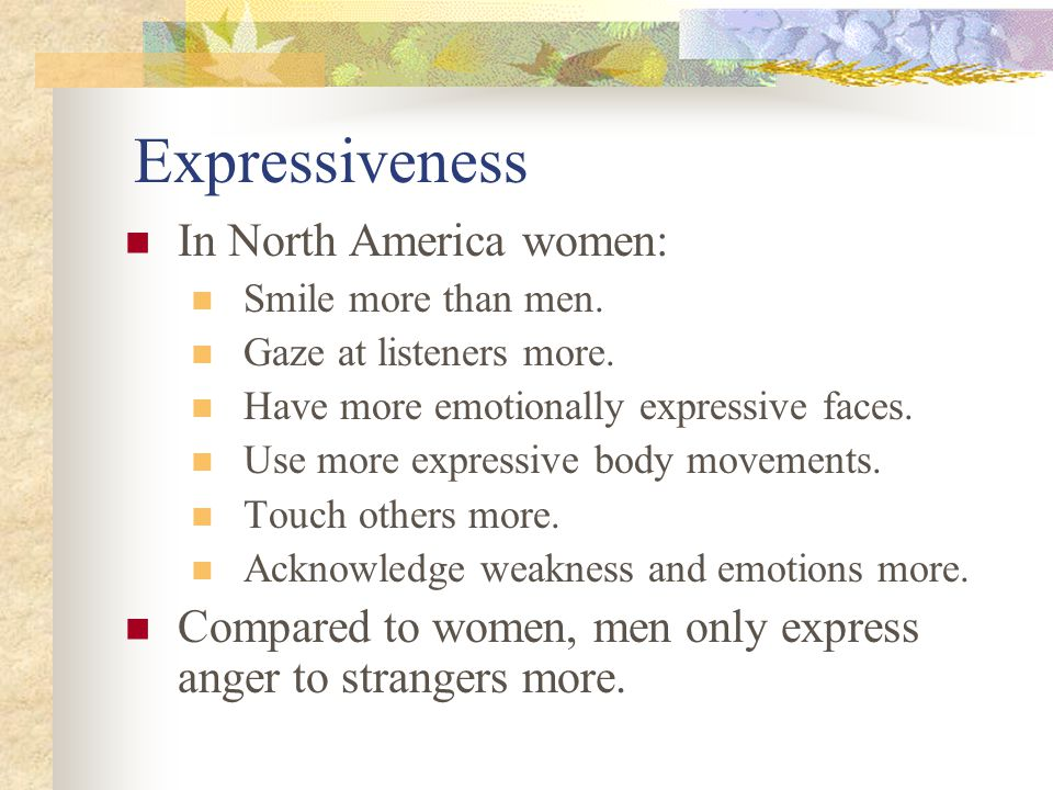 Expressiveness In North America women: