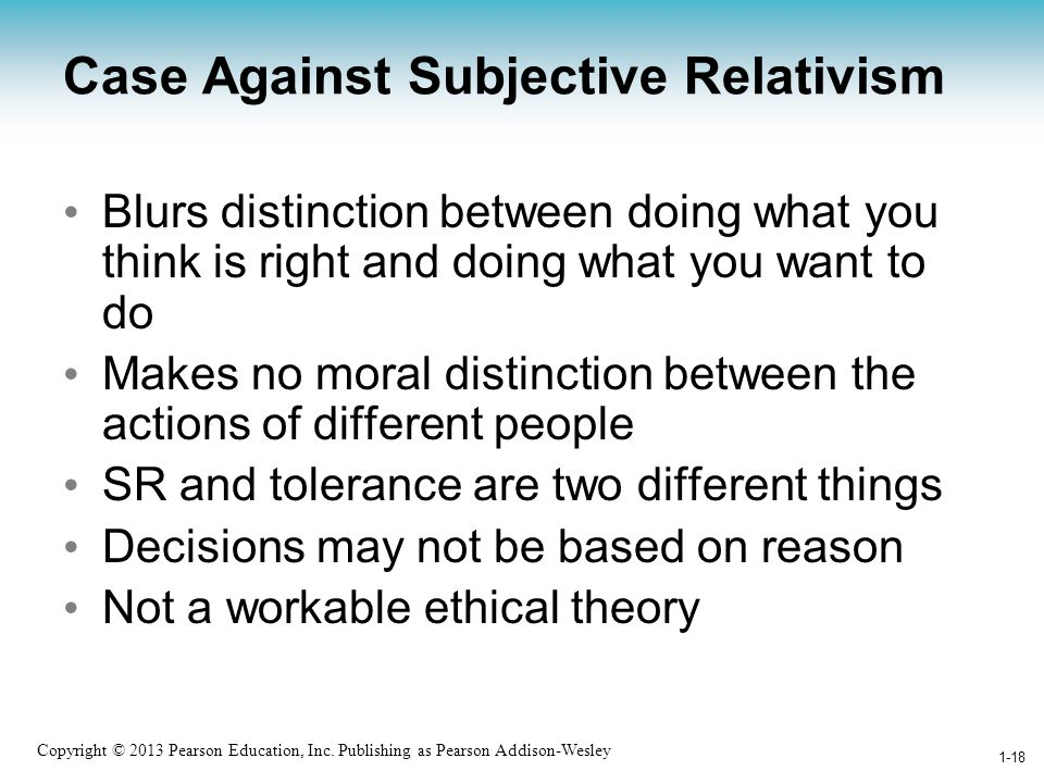 Case Against Subjective Relativism