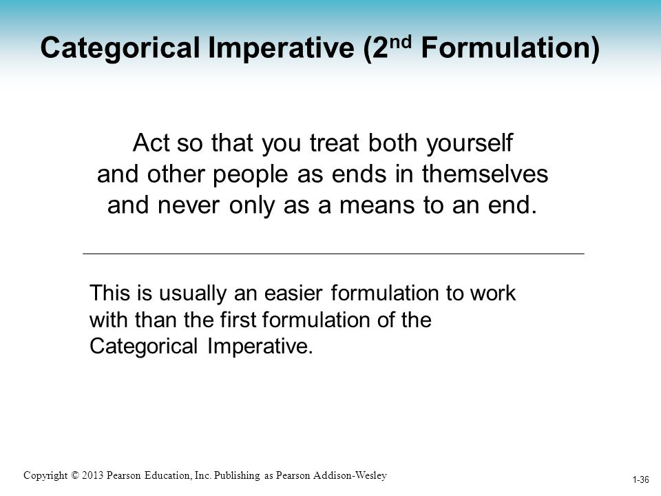 Categorical Imperative (2nd Formulation)