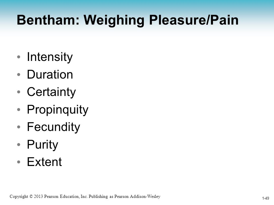 Bentham: Weighing Pleasure/Pain