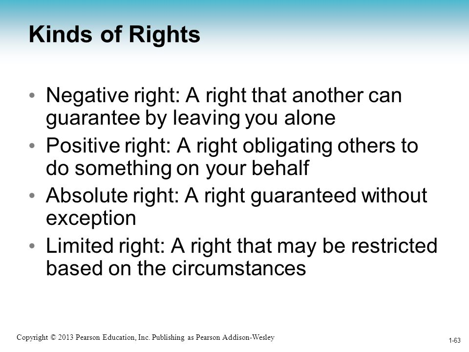 Kinds of Rights Negative right: A right that another can guarantee by leaving you alone.