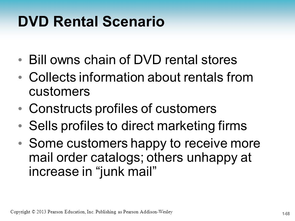 DVD Rental Scenario Bill owns chain of DVD rental stores