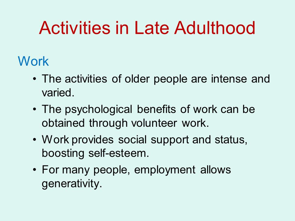 Activities in Late Adulthood