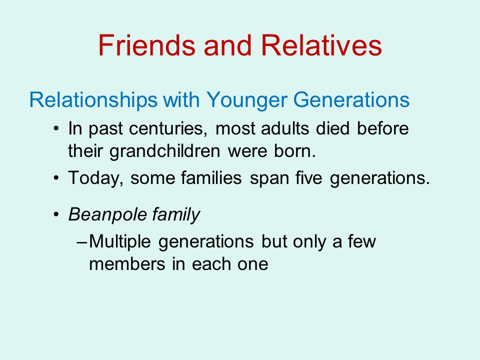 Friends and Relatives Relationships with Younger Generations
