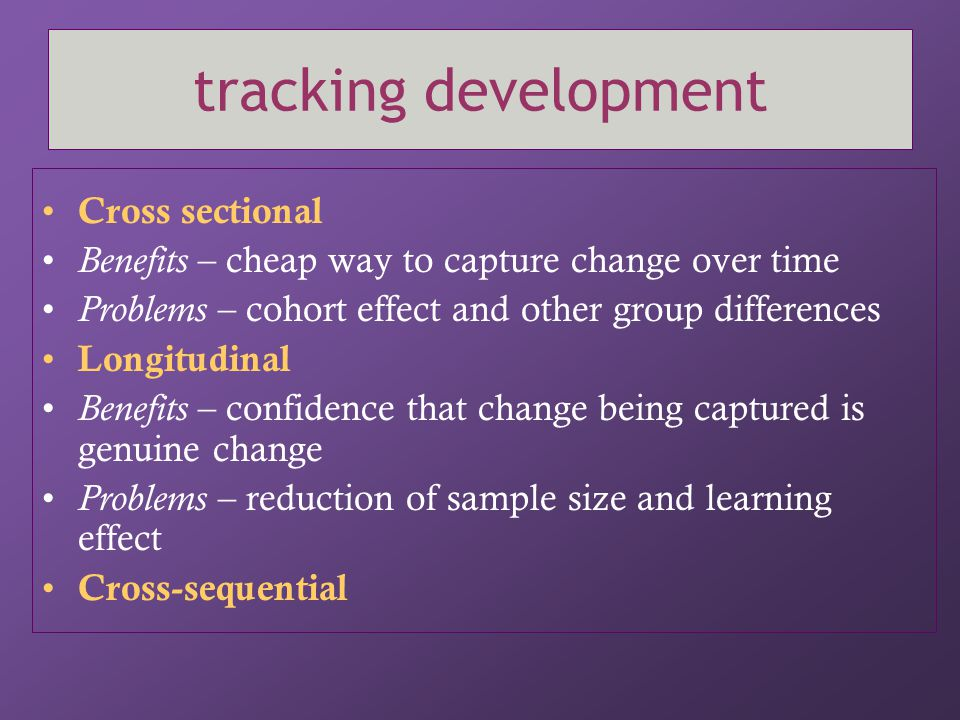 tracking development Cross sectional