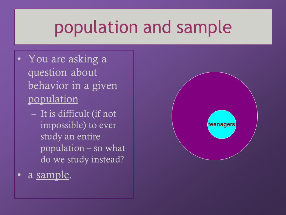 population and sample You are asking a question about behavior in a given population.