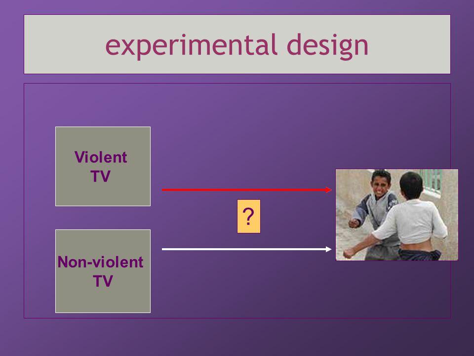 experimental design Violent TV Non-violent TV