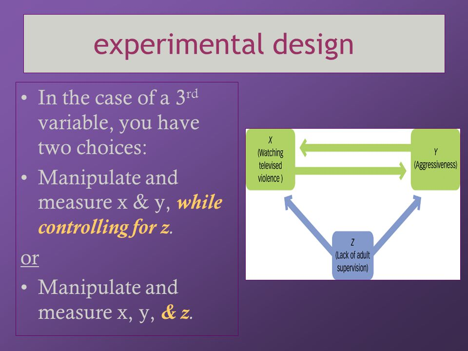 experimental design In the case of a 3rd variable, you have two choices: Manipulate and measure x & y, while controlling for z.